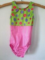 Snowflake Designs Gymnastics Leotard Child Medium CM Pink Green Polka Dots Shiny