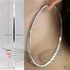 "Beautiful Silver Plated 3.1"" Hoop Earrings No Stone LO770 *"