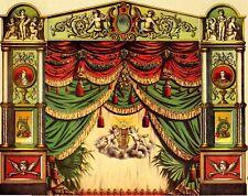 Theaterportal Proszenium + grüner Vorhang Papiertheater Jos.Scholz Mainz Reprint