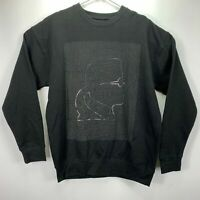 Karl Lagerfeld Mens Head Graphic Grid Crewneck Sweatshirt Black L