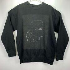 Karl Lagerfeld Mens Head Graphic Grid Crewneck Sweatshirt Black L