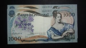 Portugal 1000 Escudos 19.5.1967 AUNC 2 Following Numbers, Rare