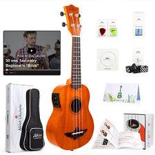 Aklot Soprano Ukulele Solid Mahogany Electric Ukelele Uke Hawaii Guitar 21 inch
