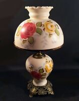 Vintage glass lamp. Victorian..Hand painted shade and base. Light-up base.