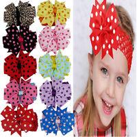 10PCS Infant Baby Girl Hairband Elastic Wave Point Bowknot Photography Headband