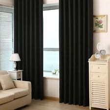 Two Heavy Thick Panels Blackout Black Grommet Window Curtain Lined Living Room