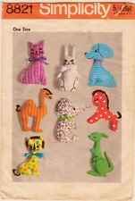 Vintage Simplicity 1970 Sewing Pattern, Set of 9 Stuffed Toys, Repro Copy