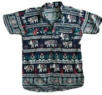 Men's Summer Elephant Print Short Sleeve Shirt Size S