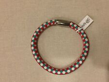 BRIGHTON - WOODSTOCK LEATHER BRACELET - HONEYCOMB - S/M - RED/GREEN - NWT