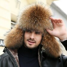 Mens Real Fox Fur Russian Ushanka Hats Aviator Trapper Hunter Ski Earlap Cap