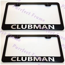 2X Mini Cooper CLUBMAN Black Stainless Steel License Plate Frame Rust Free W/Cap