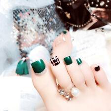 24X green false glue on fake natural toe nails acrylic toe nail tips  JX