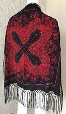 ALEXANDER McQUEEN BLACK,RED & BLUE SQUARE 100% SILK FRINGED SCARF MADE IN ITALY