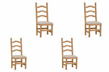 Set of Four Ladder Back Padded Seat Chair Real Solid Wood Dining Cabin Lodge