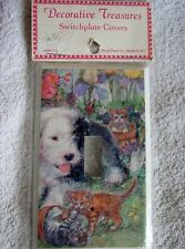 Sheep Dog Shaggy Cat flowers Single Toggle Switch Plate Cover heavy duty metal