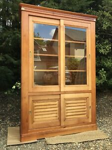 Large Vintage Two Tone Wood Glazed China Display Cabinet Bookcase Cupboard
