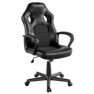 Adjustable Office Chair Desk Artificial Leather Gaming Chair,Black
