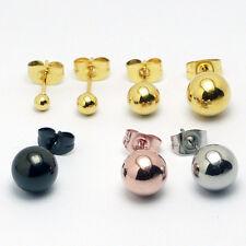 1 Paar Edelstahl Ohrstecker Kugel Ball vergoldet Ohrringe 3-8 mm