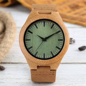 Handmade Wooden Quartz Wrist Watch Mens Creative Wood Dial Bamboo Leather Strap