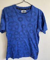 stussy t shirt, Blue, BMX Style
