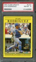 1991 fleer update #u-62 IVAN RODRIGUEZ texas rangers rookie card PSA 8