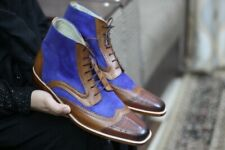 Handmade Leather & Suede boots for men, Men's Brown & Blue ankle high boots