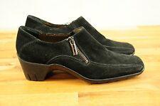 Aquatalia by Marvin K Famous Black Suede Zip Bootie Shoes Heels Women's sz 7
