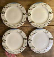 David Carter Brown Holiday Christmas Valley Dinner Plates 10 7/8 Set Of 4 Sakura
