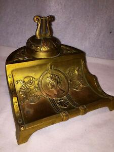Art Nouveau Ornate Gold Gilt Heavy Weight Inkwell/Pen Holder. Porcelain Well