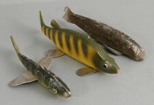 3 Antique & Vintage Hand Painted Wood & Metal Fish Decoy Lures, K. Slettin