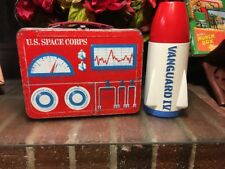 RARE!! Vtg 1961 US Space Corps Metal Lunchbox W/ Satellite Thermos