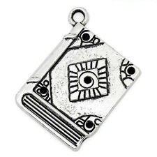 6 Book Read Reading Words Antique Silver Charms Pendants 22mm x 25mm (981)