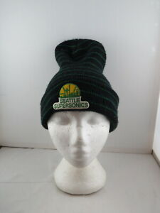 Seattle Supersonics Toque/ Benie (VTG) -  Long Green Striped - Adult One Size