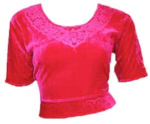 Pink Samt Top Choli Oberteil für indischer Sari Bollywood Gr. S bis 3XL