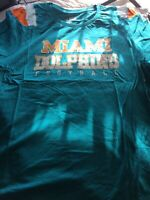 NFL Miami Dolphins Football T-shirt Womens Size 2XL Sparkle Letters New