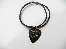 "BRITNEY SPEARS Guitar Pick plectrum signature gold stamped 20"" leather NECKLACE"