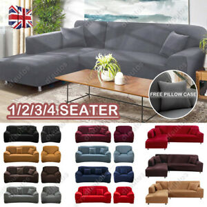 1/2x Stretch Sofa Covers Protector for L Shape Detachable Sectional Corner Couch