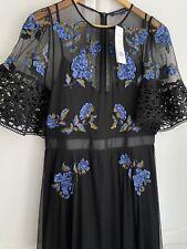 French Connection Ambre Negro Bordado Floral Maxi Vestido De Ocasión Talla 12
