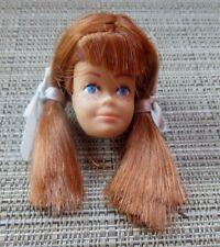 Molded Hair Midge Head With Redhead Pigtail Wig, Original Hair Ribbons