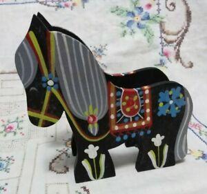 Vintage Mogens Eigenbrod Danish Dala Horse Serviette Holder Denmark Handpainted
