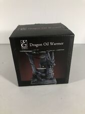 "Black Resin Dragon Oil Warmer w/ Glass Bowl Scented Oils Aromatherapy 4.5"" High"