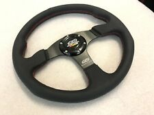 Universal Mugen JDM Style 350mm Leather Flat Dish Steering Wheel CIVIC TYPE R