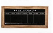 Vintage Wall Mounted Weekly Planner chalkboard frame with natural wooden edge