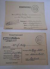 two prisoner of war letters  william joseph Homer  1943-44
