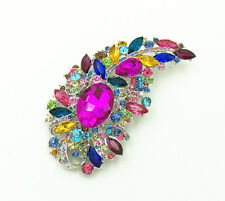 Vintage Style Large Colourful Crystal Diamante Leaf Corsage Brooch Pin Br260