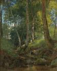 Dream-art Oil painting 希施金风景油画作品 有小溪的森林 shishkin the forest view with stream art