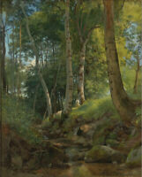 Dream-art Oil painting 希施金风景油画作品 有小溪的森林 shishkin the forest view with stream art