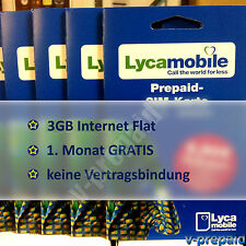 Lycamobile Prepaid Sim Karte 3GB INTERNET Flat wie Lebara NEU aktiv registriert