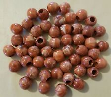 Lot of 50 Rust Marble Round Plastic Acrylic Marbella Macrame Craft Beads 14mm
