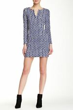NWT Diane von Furstenberg Reina Check Dot Blue Long Sleeve Dress 14 $348